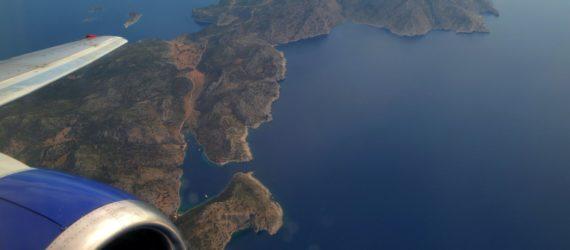 Udsigt fra fly over det græske øhav